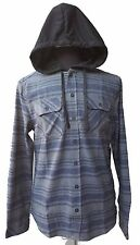 Men's Hooded Button Up Flannel Lined Long Sleeve Shirt Soft Fabric