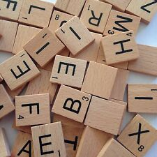 5 X 100 Wooden Alphabet for Scrabble Tiles Black Letters & Numbers Crafts LU