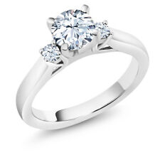 1.42 Ct Hearts And Arrows White Created Sapphire 14K White Gold 3-Stone Ring