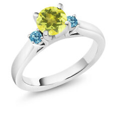 1.30 Ct Canary Mystic Topaz Swiss Blue Topaz 925 Sterling Silver 3-Stone Ring
