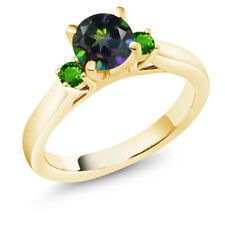 1.28Ct Green Mystic Topaz Green Simulated Tsavorite 18K Yellow Gold 3-Stone Ring