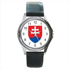Slovakia Coat of Arms Leather Strap Watches (Battery Included)