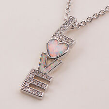 LOVE White Topaz White Fire Opal Gemstone Silver Fashion Jewelry Pendant P101