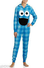 Hooded COOKIE MONSTER Onesie Fleece Pajamas Union Suit Sesame Street Adult Jrs