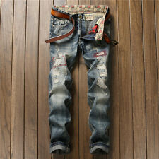 Fashion Men's Jeans Destroyed Ripped Stylish Denim Pants Personalized Trousers