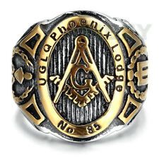 Men's Jewelry Stainless Steel Ring Freemason Masonic Lodge Punk Mason Cigar Band