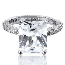 Women's Wedding Band Emerald Cut CZ White Gold Plated Engagement Promise Ring