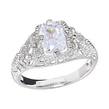 White Gold Plated Women's Engagement Wedding Ring Emerald Cut CZ  Promise Ring
