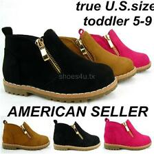 Toddler Infant Girl Booties Suede Size 5-9 Boots Shoes Zipper Black Camel Pink