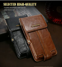 Universal Genuine Leather Flip Wallet Pouch Belt Clip Holster Waist Cover Case