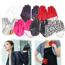 New Woman Lady Tight Half Palm Gloves Imitation Leather Five Finger Vivid Color