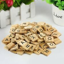 100 Wooden Alphabet Scrabble Tiles Black Letters & Numbers Crafts Wood Lot LU