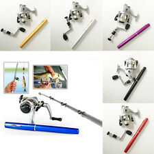 Mini Portable Pocket Aluminum Alloy Pen Fishing Tackle Rod Pole Reel