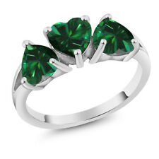 2.04 Ct Heart Shape Green Simulated Emerald 14K White Gold Ring