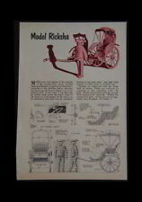 """Model Rickshaw How-To Build PLANS wooden 6"""" tall"""
