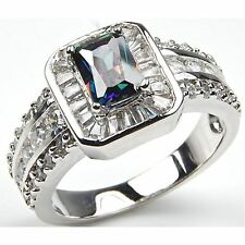 Rainbow Fire Mystic Topaz Sterling Silver Ring 925 Emerald Luxurious Cocktail