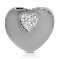 Pave Heart Stainless Steel Polished Fancy Big Silver Cocktail Silver Ring
