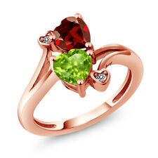 1.76 Ct Heart Shape Green Peridot Red Garnet 18K Rose Gold Plated Silver Ring