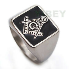 Men's Jewelry Stainless Steel Ring Masonic Square G Master Mason Blue Lodge 8-13