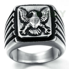 Mens Stainless Steel Rectangle Biker Ring Russian Byzantine Greek orthodox Eagle