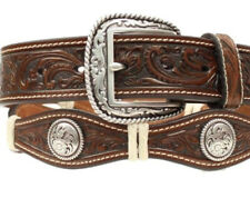 Ariat Western Mens Belt Leather Scalloped Conchos Brown A1013008