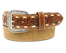 Ariat Western Mens Belt Leather Floral Embossed Lacing Brown A1028044
