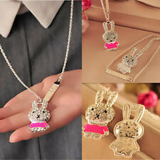 1Pcs Pop Rhinestone Rabbit Crystal Girls Enamel Necklace Chain Jewelry Pendant
