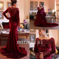 Burgundy Mother of the Bride Dresses Long-Sleeves Beads Custom For Wedding Party