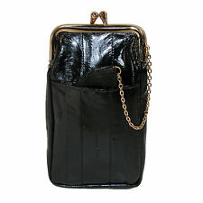 New Marshal Leather Women's Eel Skin Cigarette Case with Snap Closure