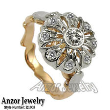 14k Solid Two-Tone Gold Cubic Zirconia Engagement Russian Style Ring #R1903