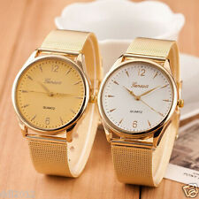 Luxury Fashion Women's Classic Crystal Gold Quartz Stainless Steel Wrist Watch