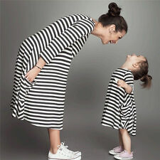 Mother and Daughter Casual Striped Vest matching Mom Girls Dress Family Clothes