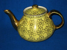 Vintage Hall Pottery French Tea Pot 6 Cup Yellow and Gold  w/Daisy Flowers