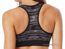 """ZUMBA """"Peace N Love"""" Mid-Level V-Bra Top ~Embrace Stylish Support RARE! S M L"""