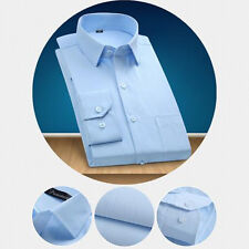 Mens Business Dress Shirt Fall Casual Slim Fit Style Long Sleeve Solid Plus Size