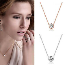 Rose Gold/Silver Plated Jewelry Round Circle Necklace Chain Pendant