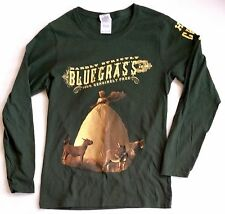 HARDLY STRICTLY BLUEGRASS Green San Francisco Crew M L Long Sleeve T Shirt NWOT