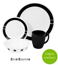 16 - 32 Piece Dinnerware Set Corelle Black and White Plate Mug Bowl for 4 or 8