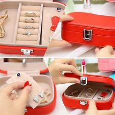 Necklace Ring Earring Organizer Leather Mirror Jewelry Box Storage Case