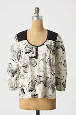 Anthropologie Imagining Butterflies Top Sz 4, Cotton B&W Blouse Girls From Savoy