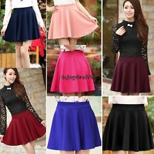 New Women Candy Color Stretch High Waist Plain Skater Flared Pleated Mini OO55