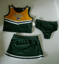 Green Bay Packers Embroidered 3 Piece Cheerleader Outfit Infant Toddler NWT