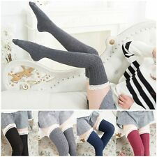 Long Cotton Over Knee Tigh High Knit Lace Socks Women Stockings