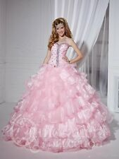 Charming Pink Ball Gown Organza Special Designing Quinceanera Dresses Custom