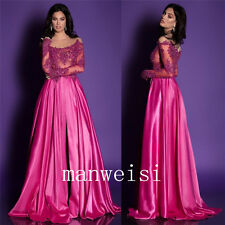 Sheer Neck Long Sleeves Evening Dresses Stretch Satin Slim Formal Lady Prom Gown