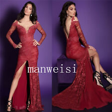 Sexy Deep V-Neck Long Sleeves Evening Dresses Mermaid Lace Formal Occasion Gowns