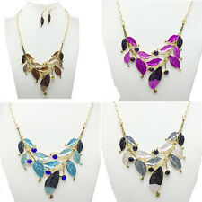 Diamond-encrusted Leaf Necklace Earring Women New Faux Jewelry Fashion Set Hot
