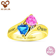 Promise Ring, Engraved Ring, Personalized 925 Sterling Silver 2 Birthstones Ring