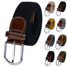 Mens PU Leather Braided Elastic Stretch Cross Buckle Unisex Golf Belt Waistbands