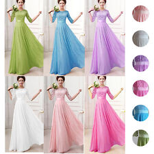 Long Women's Chiffon Lace Floral Evening Party Formal Bridesmaid Prom Gown Dress